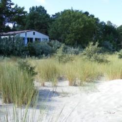 Das deutsche Freizeithaus Greifswalder Bucht am Meer mit Sandstrand.