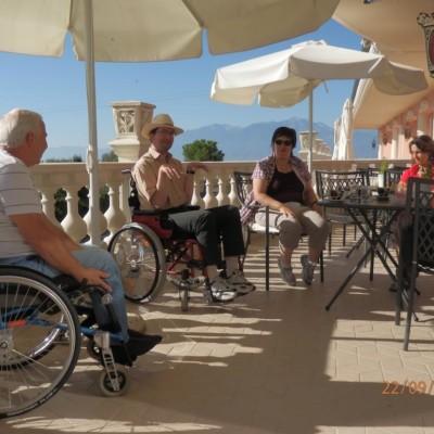Die Terrasse des Hotels Villa Olymp im Griechenland.