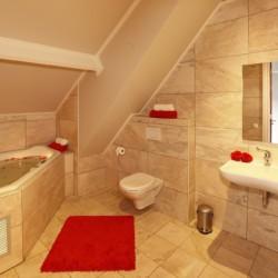 Sanitäre Anlagen mit Badewanne, WC und Waschbecken im niederländischen Gruppenhaus De Sterre für barrierefreie Freizeiten.