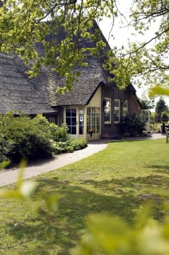 Grünflächen und Bäume rund um das Freizeithaus De Boerschop in den Niederlanden.